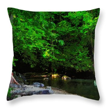 Shall We Gather At The River Throw Pillow by Lianne Schneider