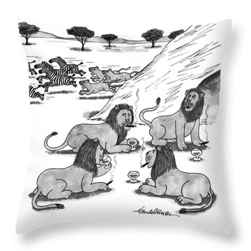 Shall We Join The Ladies? Throw Pillow