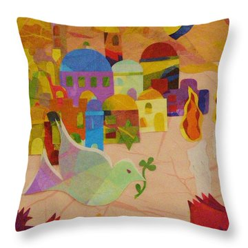 Throw Pillow featuring the mixed media Shalom  by Diane Miller