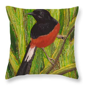 Throw Pillow featuring the painting Shama by Anna Skaradzinska