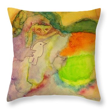 Throw Pillow featuring the painting Shaman And Spirit Animals by  Heidi Scott