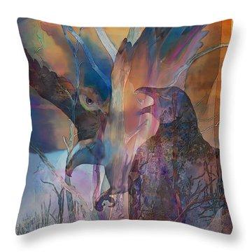 Throw Pillow featuring the digital art Shaman's Friends by Ursula Freer