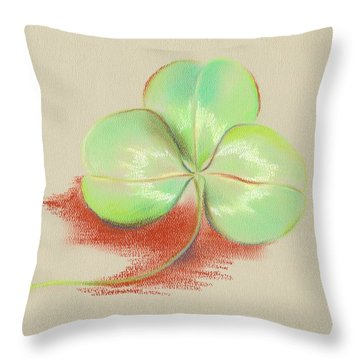 Throw Pillow featuring the pastel Shamrock Clover by MM Anderson