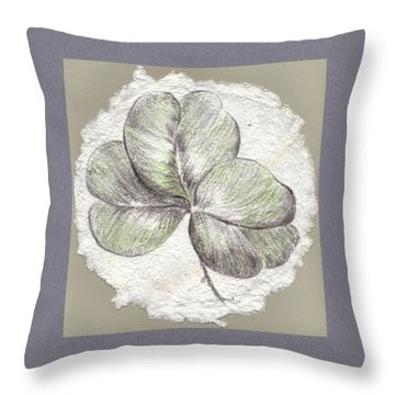 Shamrock On Handmade Paper Throw Pillow