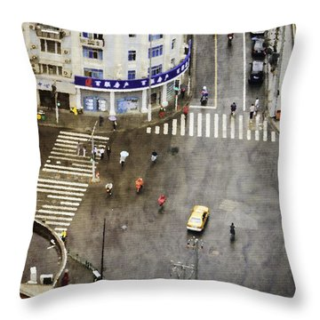 Shanghai China Big City Urban Scene From Above Throw Pillow by Jani Bryson