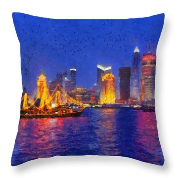 Shanghai During Dusk Time Throw Pillow