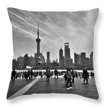 Shanghai Skyline Black And White Throw Pillow