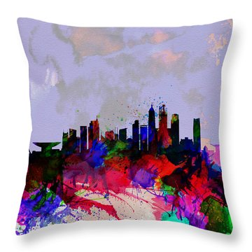 Shanghai Watercolor Skyline Throw Pillow