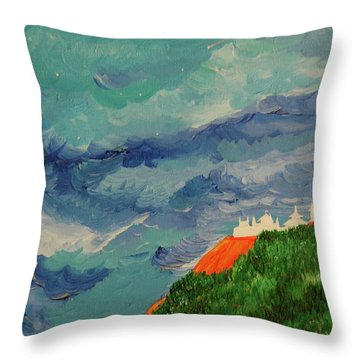 Throw Pillow featuring the painting Shangri-la by First Star Art