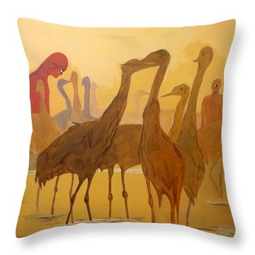 Throw Pillow featuring the painting Shapes Just Shapes Formas Nada Mas by Lazaro Hurtado