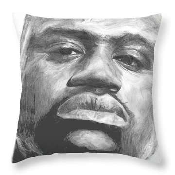 Throw Pillow featuring the drawing Shaq by Tamir Barkan