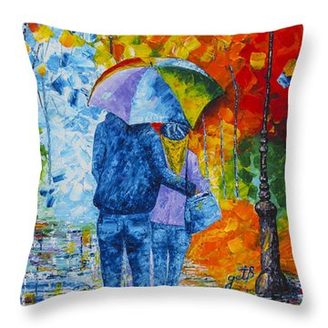 Throw Pillow featuring the painting Sharing Love On A Rainy Evening Original Palette Knife Painting by Georgeta Blanaru