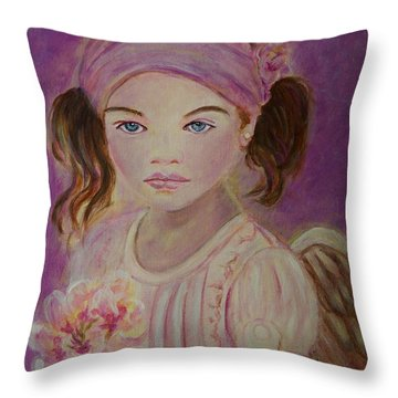 Sharissa Little Angel Of New Beginnings Throw Pillow by The Art With A Heart By Charlotte Phillips