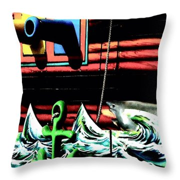 Throw Pillow featuring the photograph Shark And Pirate Ship Pop Art Posterized Photo by Marianne Dow