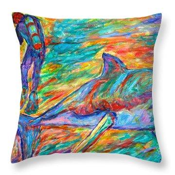 Shark Beauty Throw Pillow by Kendall Kessler
