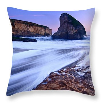 Shark Fin Tide - Santa Cruz California Throw Pillow