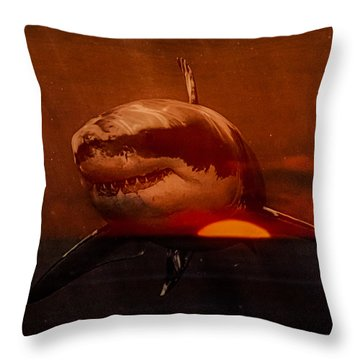 Shark In A Sunset Throw Pillow