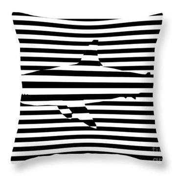 Shark Optical Illusion Throw Pillow by Pixel Chimp