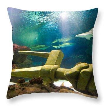 Shark Tank Trident Throw Pillow by Bill Pevlor