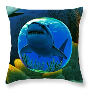 Shark World  Throw Pillow