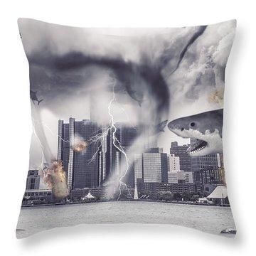 Throw Pillow featuring the photograph Sharknado Detroit by Nicholas  Grunas