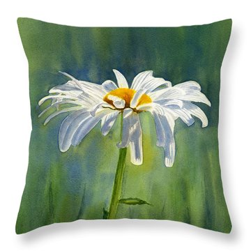 Shasta Daisy Flower With Blue Green Background Throw Pillow by Sharon Freeman
