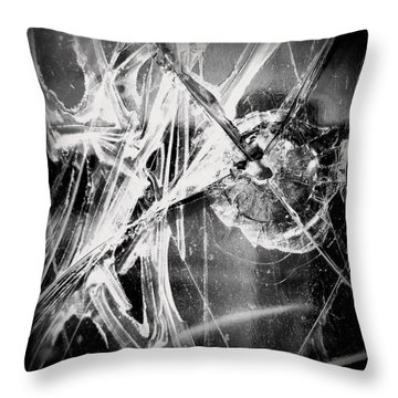 Throw Pillow featuring the photograph Shatter - Black And White by Joseph Skompski