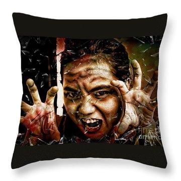 Shattering Horror Throw Pillow