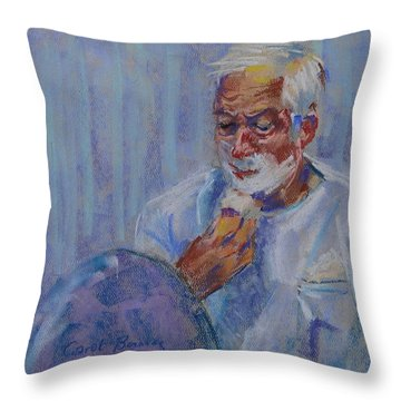 Shave And A Haircut Throw Pillow by Carol Berning