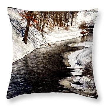Shawsheen River Throw Pillow by Tricia Marchlik
