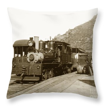 Throw Pillow featuring the photograph Shay No. 498 At The Summit Of Mt. Tamalpais Marin Co California Circa 1902 by California Views Mr Pat Hathaway Archives