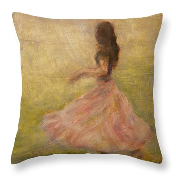 She Dances With The Rain Throw Pillow