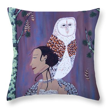 She Flies With The Owls Throw Pillow