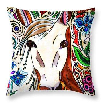 She Grazes Where Flowers Grow - Horse Throw Pillow