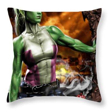 She-hulk Throw Pillow by Pete Tapang