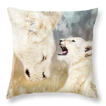 She Listens - Square Format Throw Pillow by Carol Cavalaris