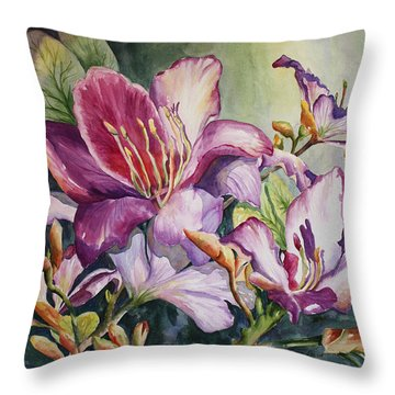She Love Radiant Orchids Throw Pillow by Roxanne Tobaison