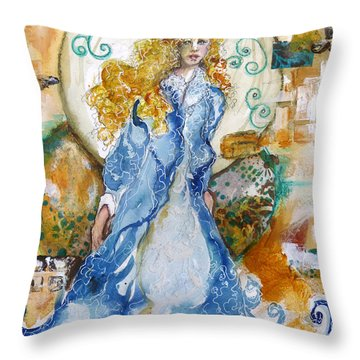 Throw Pillow featuring the mixed media She  Loves The Sea by P Maure Bausch