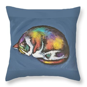 She Purrs In Color Throw Pillow by Beth Clark-McDonal