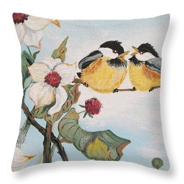 Throw Pillow featuring the painting She Said by Sharon Duguay