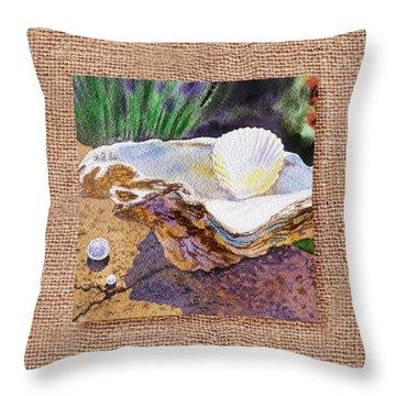 She Sells Sea Shells Decorative Design Throw Pillow by Irina Sztukowski