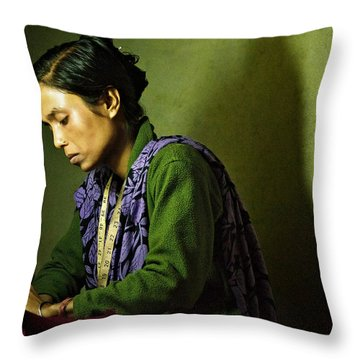 She Sews Into The Night Throw Pillow by Valerie Rosen