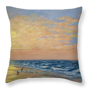 She Sweeps With Many Colored Brooms Throw Pillow by Kathleen McDermott