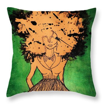 Throw Pillow featuring the painting She by Tarra Louis-Charles