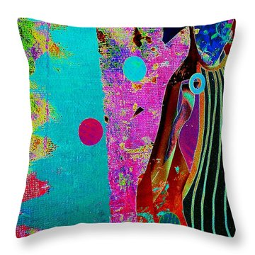 She Waits By The Window Throw Pillow by Jacqueline McReynolds