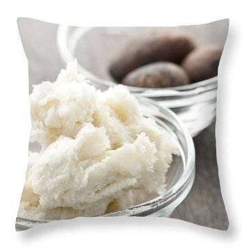 Shea Butter And Nuts In Bowls Throw Pillow by Elena Elisseeva