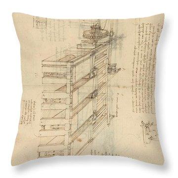 Shearing Machine With Detailed Captions Explaining Its Working From Atlantic Codex Throw Pillow by Leonardo Da Vinci