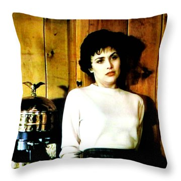 Throw Pillow featuring the painting Shed Been Murdered by Luis Ludzska