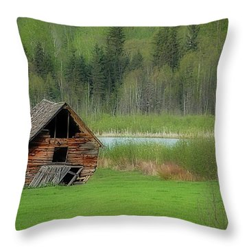 Shed By The Lake Throw Pillow