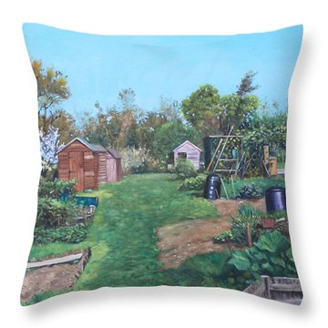 Sheds On Allotments At Southampton Throw Pillow